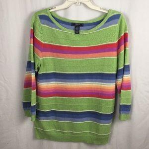 Chaps Linen/Cotton Multi Striped Summer Sweater